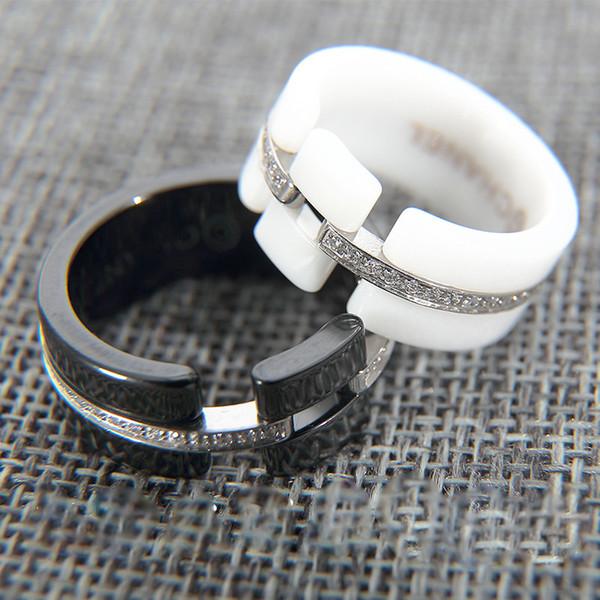 Seramik halkalar Siyah / Beyaz Diamante kaplı yaratıcı seramik halka zirkonya moda kuyruk halkası.
