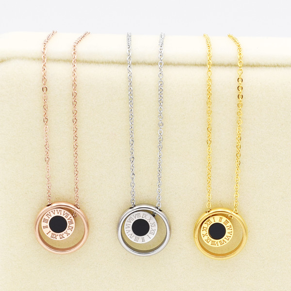 whole saleNew Roman Numeral Pendant Necklace Natural Shell And Stone two-sided Pendant Chains Necklace For Women Fine Jewelry