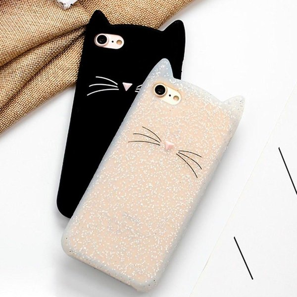 Lower price Women Cute Silicone Cat Ear Rubber Soft Shockproof Case Cover for IPhone SE 6 6S