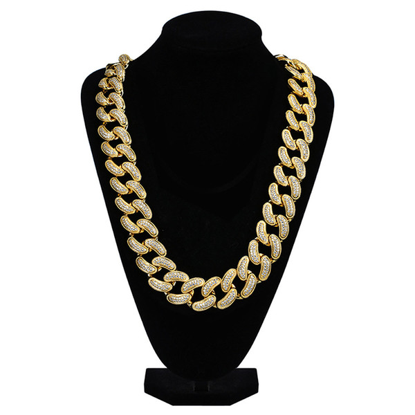 28mm Men's Large Size Miami Cuban Link Chain Hip Hop Iced Out Full Cubic Zirconia Necklace Brass Gold Silver Color Jewelry