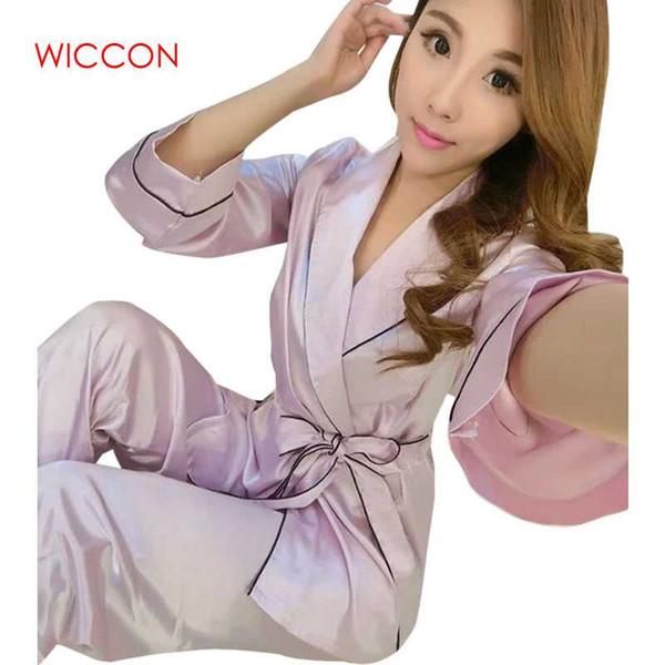 Wiccon 2018 moda primavera outono mulheres china cetim faux conjuntos de pijama de seda sleepcoat feminino superior pijamas casa clothing