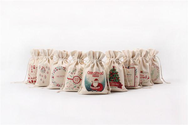 2018 Sacs Cadeau De Noël Grand Sac De Toile Lourde Bio Sac De Père Noël Sac À Cordon Avec Rennes Le Père Noël Fleurs Sac Sacs Pour Enfants