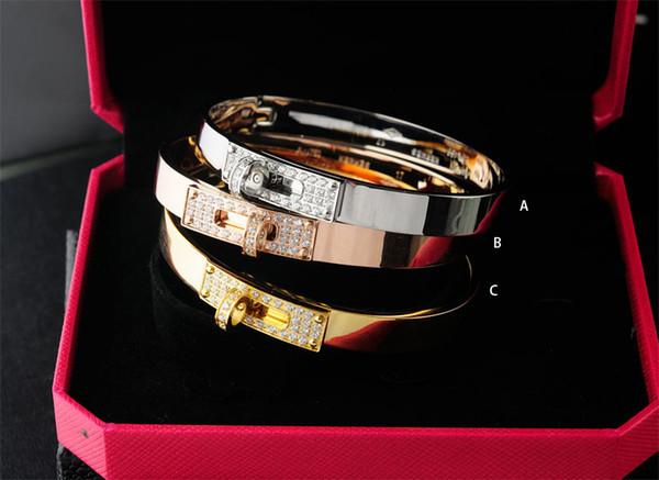 Factory Sell Top Quality Luxury Celebrity design Letter Metal Belt Rivets bracelet Fashion Letter Metal Buckle bracelets With Box