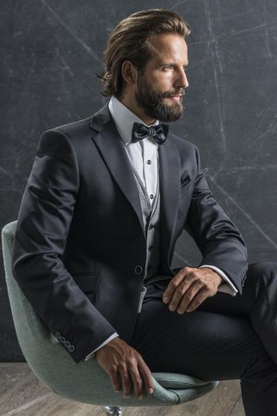 2018 estilo italiano, gris oscuro, esmoquin de novio hecho a medida, 2 piezas, trajes de cena de boda, traje de caballero de negocios (chaqueta + pantalón) terno