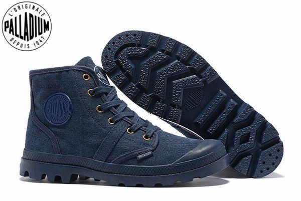 PALLADIUM Pampa Hi 52352 Kovboy mavi Sneakers Rahat Yüksek Kaliteli Ayak Bileği Boots Lace Up Tuval Erkekler Rahat Ayakkabılar Boyutu 39-45
