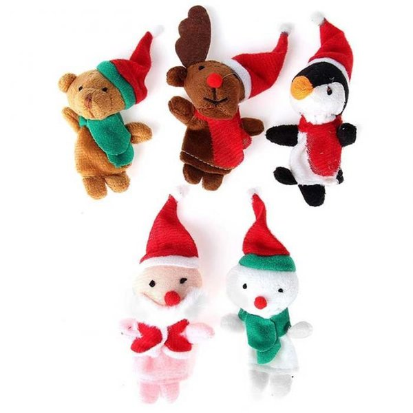 Finger Puppets Toys Christmas Santa Claus Snowman Baby Stories Helper Fingers Kids Xmas Gift free shipping wholesale high quality hot sale