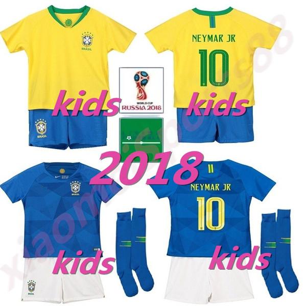 36ae905d8 2018 world cup brazil home away soccer Jersey Kids kits Soccer Jerseys  P.COUTINHO Child Soccer Football kids Shirt Kits