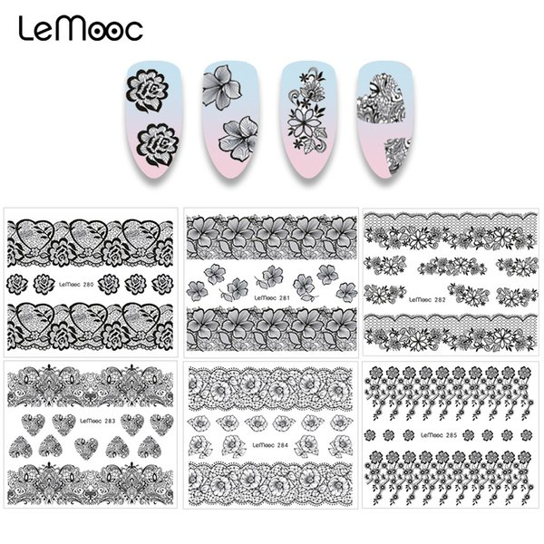 LEMOOC 1 Sheet Water Decal Beauty Lace Designs Nail Transfer Sticker Nail Art Decoration for Manicure Watermark