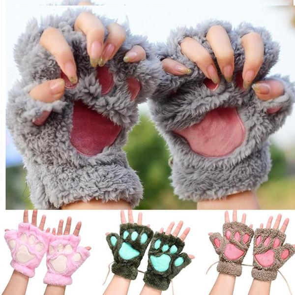 9 Farbe Frauen Winter Fluffy Bär Katze Plüsch Paw Claw Handschuh Half Finger Nette Handschuhe Fäustlinge Weiche Winter Handschuhe 0295
