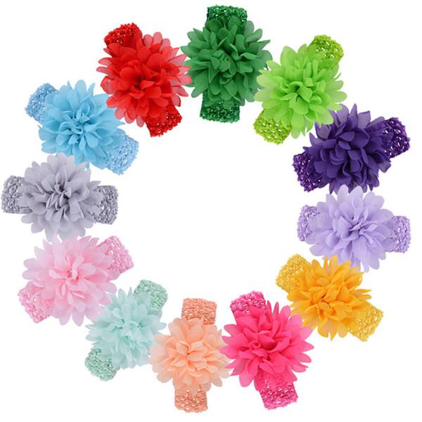 15 colors baby Headwear Head Flower Hair Accessories 4 inch Chiffon flower with soft Elastic crochet headbands stretchy hair band