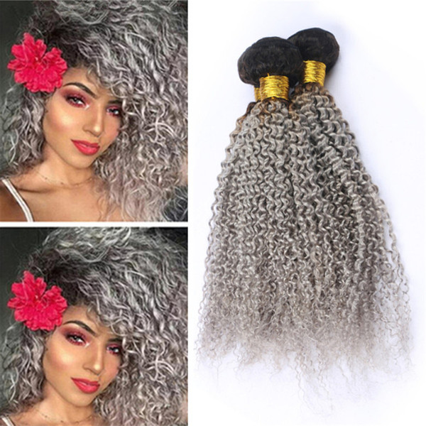 2 Tone 1B/Grey Ombre Brazilian Kinky Curly Human Hair Weave 3 Bundles Dark Roots Gray Ombre Virgin Hair Weft Extensions Mixed Length