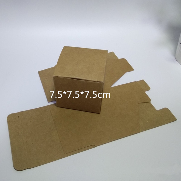 100pcs 75*75*75mm Blank Kraft Paper Box for Facial cream Jewelry Candy Gift Packaging