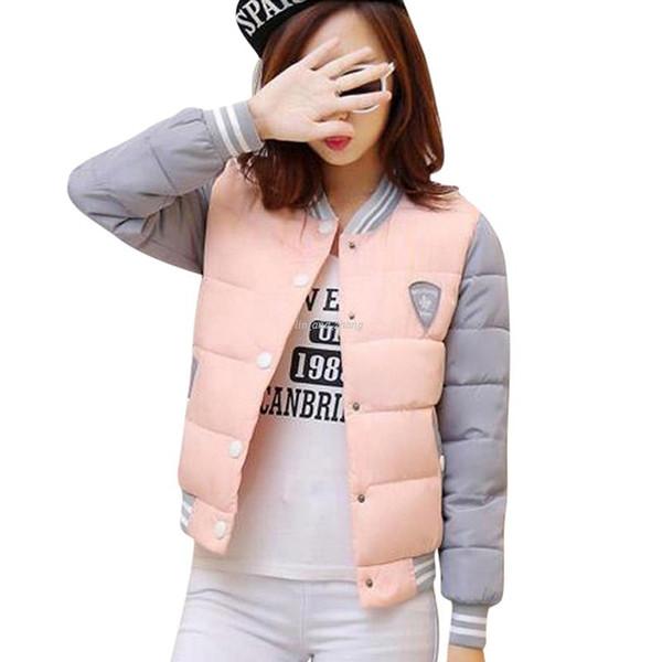 2018 Nueva chaqueta de invierno mujer Corea moda uniforme chaquetas abrigos de algodón de invierno mujer femenina parkas chaqueta de mujer
