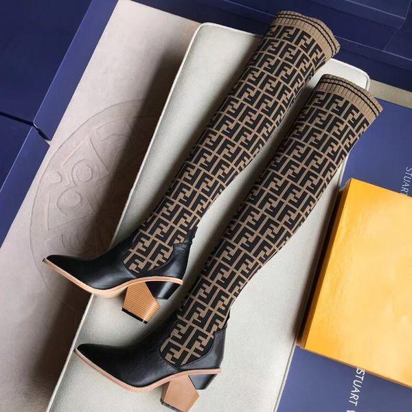 Dernier luxe bottes de designer pour femmes Pointu Chunky Heel de cuisse bottes hautes de marque 9.5CM F respirant élastique sur les bottes au genou