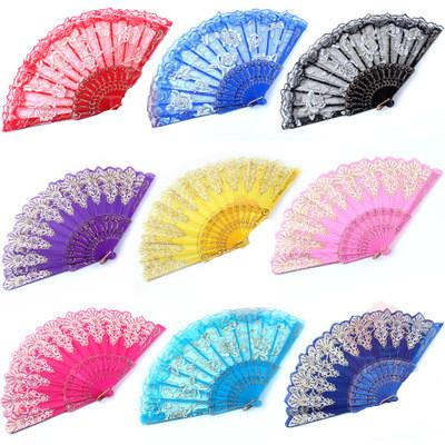 top popular Luxury Floral Lace Hand Fans Rose Pattern Glitter style Party Dance Folding Hand Fan Dance Party Kraft Gifts 2021