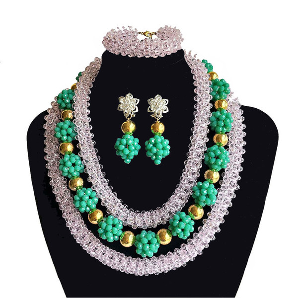 India Women Jewelry Sets Nigerian Wedding Beads Bridal Costumes Jewelry Light Green Crystal Necklaces African Wedding Beads Jewelry Set
