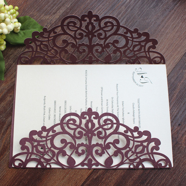 Burgundy Shimmer Invitation Card Wedding Birthday Anniversary Party Invitations Fall Winter Wedding Cards Custom Printing Wholesale Canada 2019 From