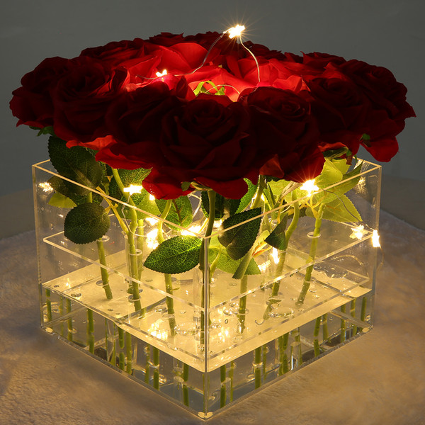 New Arrival Acrylic Rose Box Cosmetic Box with Removable Lid Nice Gift Packaging for Flowers