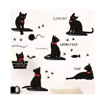 Vinyl Wall Stickers Wallpaper Animal Cartoon Black Cat Family