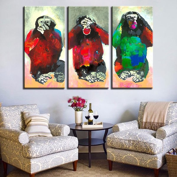 Canvas Poster Home Decor Prints 3 Pieces Colorful Monkey Animal Painting Abstract Funny Pictures For Living Room Wall Art