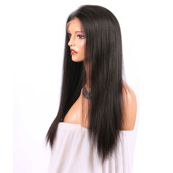 360 Full Lace Human Hair Wigs Yaki Straight Glueless Virgin Peruvian Hair Pre Plucked 360 Lace Wigs For Black Women With Baby Hairs