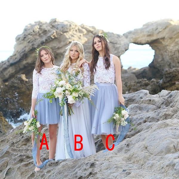 Spitze Zwei Stück 2018 Günstige Brautjungfernkleider Chiffon Eine Linie Juwel Halsfalten Bodenlangen Trauzeugin Kleid Brautjungfer Kleider