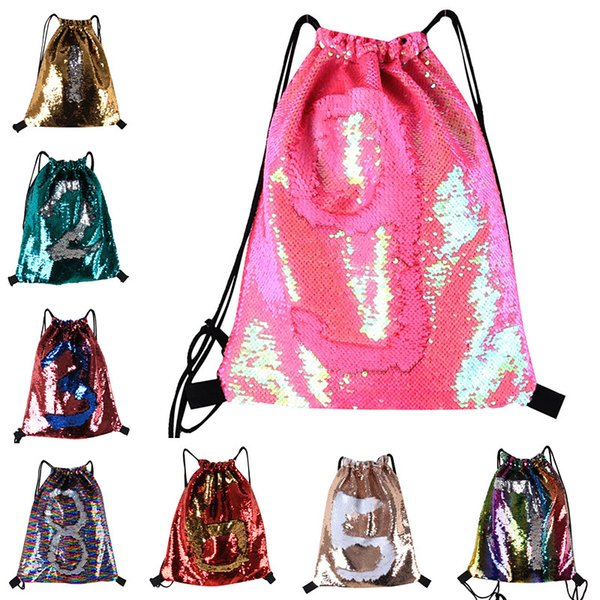best selling Fashion Bags Mermaid Sequin Drawstring Backpack Outdoor Sports Glitter Casual Double Color Sequins Backpack Shoulder Bags Travel Bag