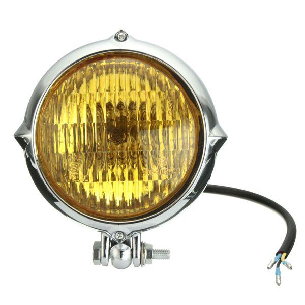 New Chrome Black Motorcycle 4 inch Headlight Yellow Light Lamp For Harley Bobber Chopper