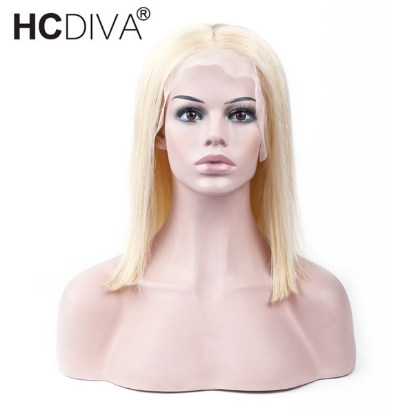 100% Human Hair Wigs #613 Blonde Short Bob Straight Lace Wigs Peruvian Remy Human Hair Pre plucked Hairline Honey Blonde Remy Hair HCDIVA
