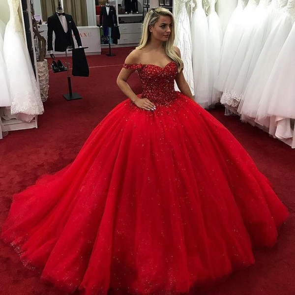 2019 Bright Red Quinceanera Dresses Off Shoulder Beads Crystals Lace Up Sweet 16 Dresses Ball Gown Prom Dress vestidos de quinceanera