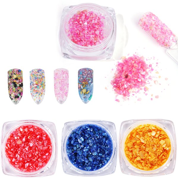 Beauty Sea Shell Nail Sequins Irregular Broken Thin Flakes Natural Black Pink Nail Art Glitters Decor Dust Accessories