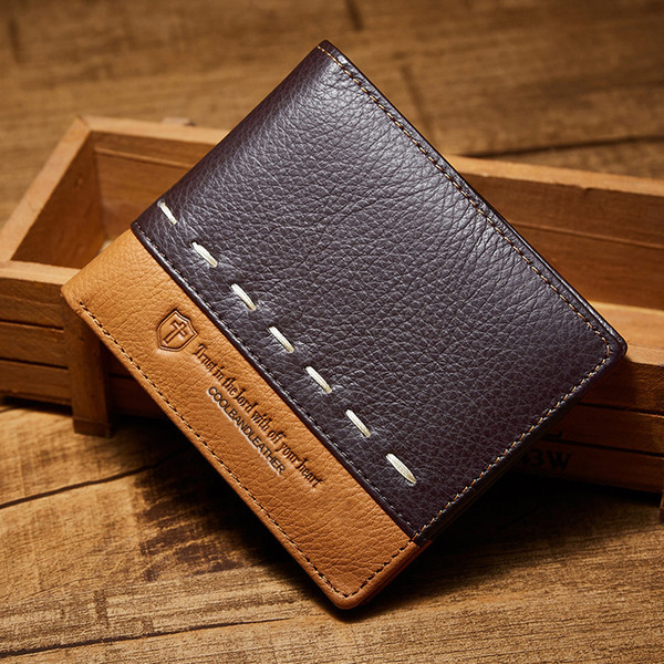 Men Short Piecing True Leather Wallets Bifold Card Holder Photo Holder Cowhide Wallet 11*9.5*1.2Cm X108