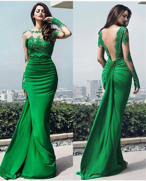Emerald Green Backless Evening Dresses With Long Sleeves Lace Applique Jewel Sheer Neck Mermaid Cheap Prom Party Dress Formal Gowns