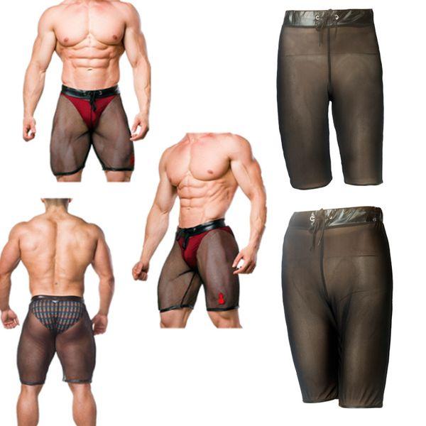 Patent Leather Men Fetish Shorts Mesh Patchwork Sexy Lingerie Stitching Slim Boxer Ultra-thin Transparent Plus Size Male Underpants