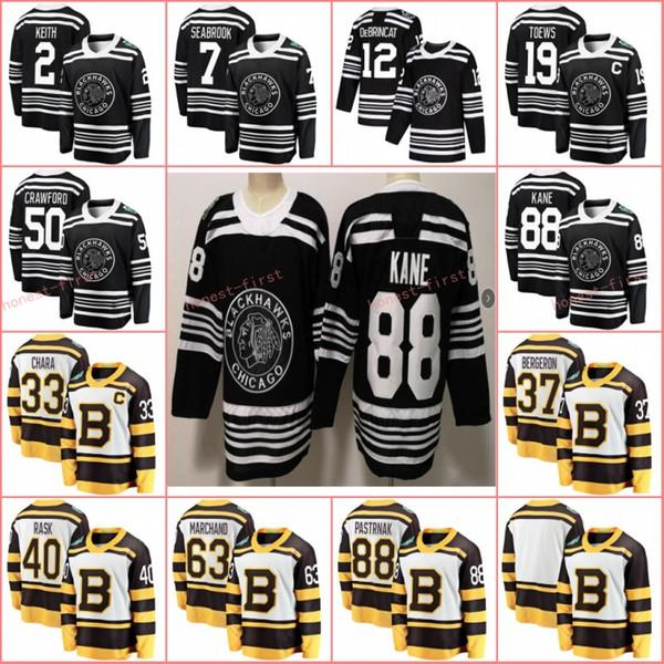 Winter-Klassiker Boston Bruins 2019 Pastrnak Rask Bergeron Chara Marchand Chicago Blackhawks Jonathan Toews Patrick Kane Keith Crawford Trikot