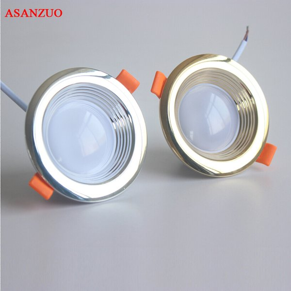 Gold/Silver shell led downlights Ceiling lamp 2835SMD 220-240V AC IC 5W Drive-free downlight 3 color change warm/white/cold