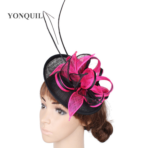 17 Colors new design ostrich quill feather fascinators hat ladies wedding millinery hats for elegant women occasion show