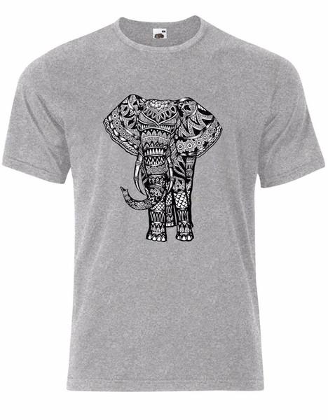 Stunning Indian Elephant Mandala Henna Boho Style Mens Tshirt Tee Top AL37
