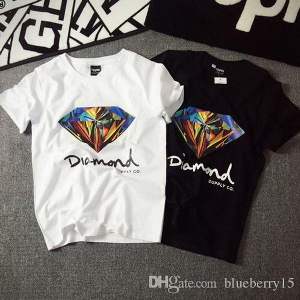 Toptan Yeni fahion 3D Elmas erkekler kısa kollu t gömlek kaykay moda marka giyim hip hop camisetas mens tops gömlek homme