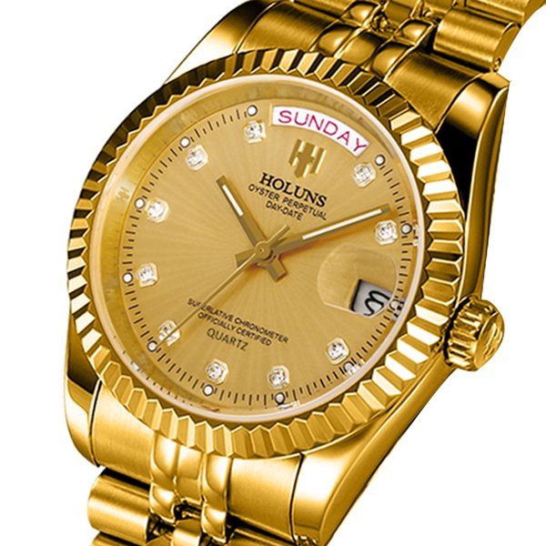 Holuns Men Watches 2018 Luxury old Quartz Stainless Steel Calendar Relogio Masculino Waterproof Best-seller Wrist Watch