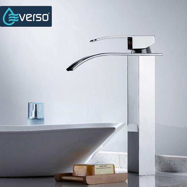top popular Bathroom Faucet Deck Mounted Waterfall Faucet Single Hole Basin Brass Material Basin Mixer Tap Water Torneira 2019