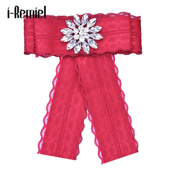 i-Remiel Bowtie Bow Brooch Ribbon Metal Fabric Cloth Art Pins And Brooches Shirt Collar Accessories Blouse Broches Badge woman