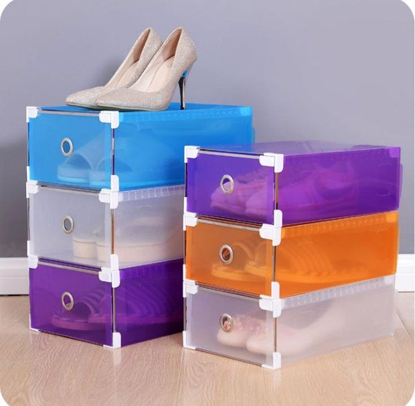 Multifunction Plastic Shoe Box Colorful Rectangle Storage Drawers Household DIY Organizer Storage Shoes Boxes Case SN308