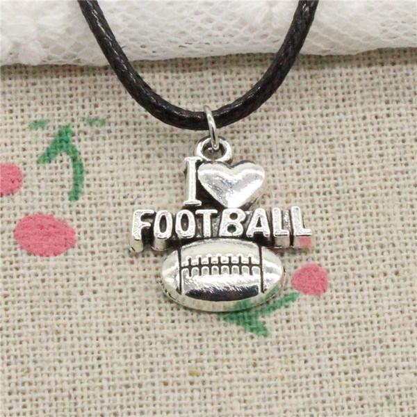 Creative Fashion Antique Silver Pendant i love football 20*18mm Necklace Choker Charm Black Leather Cord Handmade Jewlery