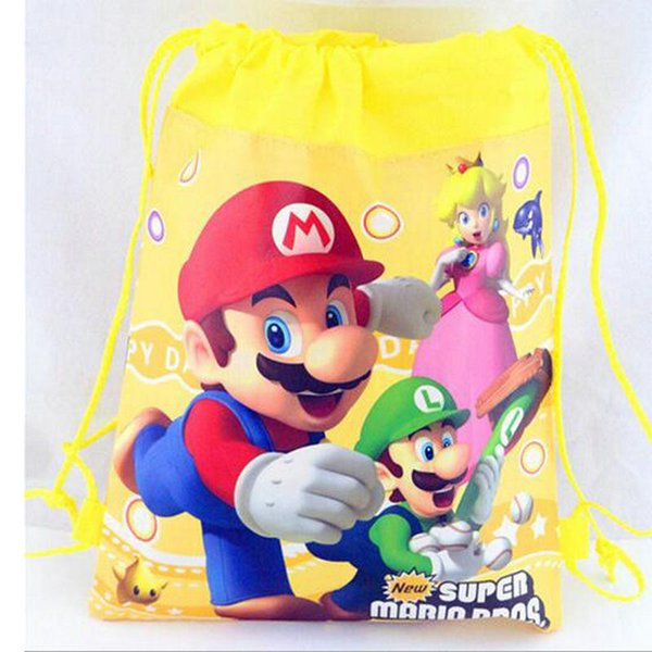 New Cartoon Kids Super Mario Drawstring Printed Backpack Beach Shopping School Traveling Bags 34*27CM