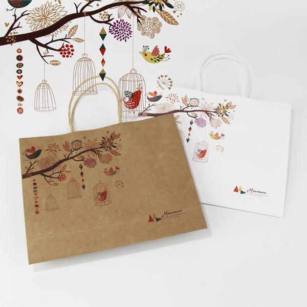 White/Brown Gift Paper Bag Flower Bird Printing Cake Food Toys Packaging Halloween Christmas Gift Bag