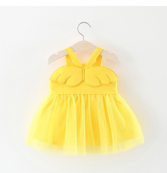 Baby Girl Clothing Cute Angel Wings Fluffy Tutu Dress For NewBorn Girls Summer Princess Party Dresses Kids Vest Clothes