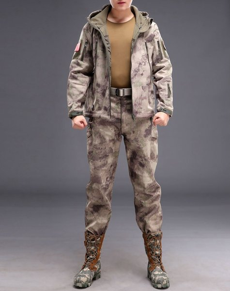 Camouflage hunting clothing Shark skin soft shell lurker tad v 4.0 outdoor tactical fleece jacket + uniform pants suits
