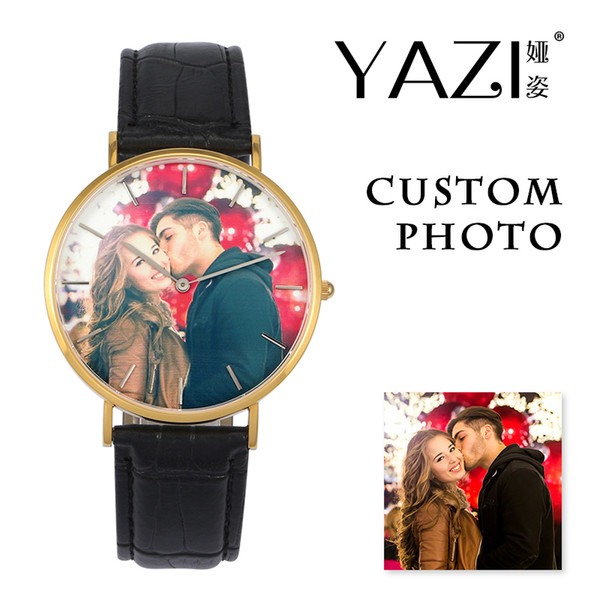 YAZI Unique Design Custom Watch Photo Lovers Gift Couple Watch Lucky Logo Print in Dial Wrist for Men And Women's Souvenir