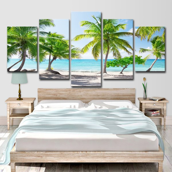 HD Prints Canvas Poster Home Decor Pictures 5 Pieces Santa Catalinna Island Beach Coconut Trees Painting Wall Art Room